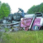 Tractor-trailer overturns at Pilot