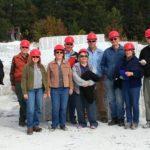 Geology class tours granite quarry, Pilot Mountain
